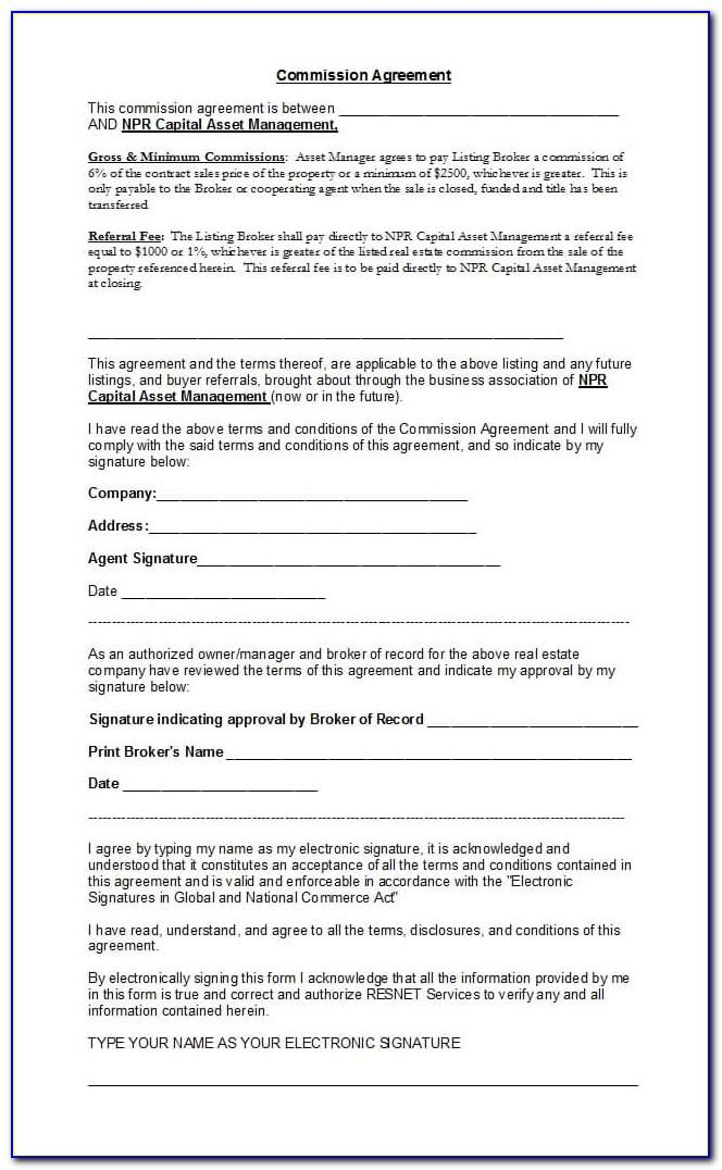 Real Estate Commission Split Agreement Template
