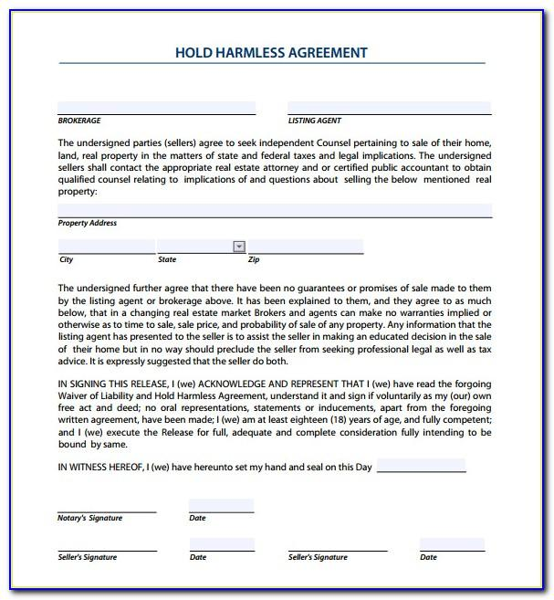 Real Estate Hold Harmless Agreement Form