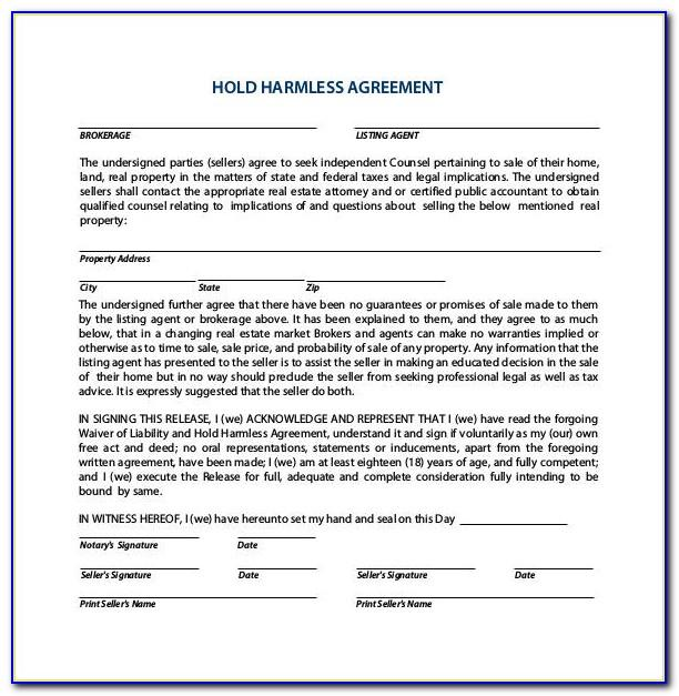 Real Estate Hold Harmless Agreement Sample