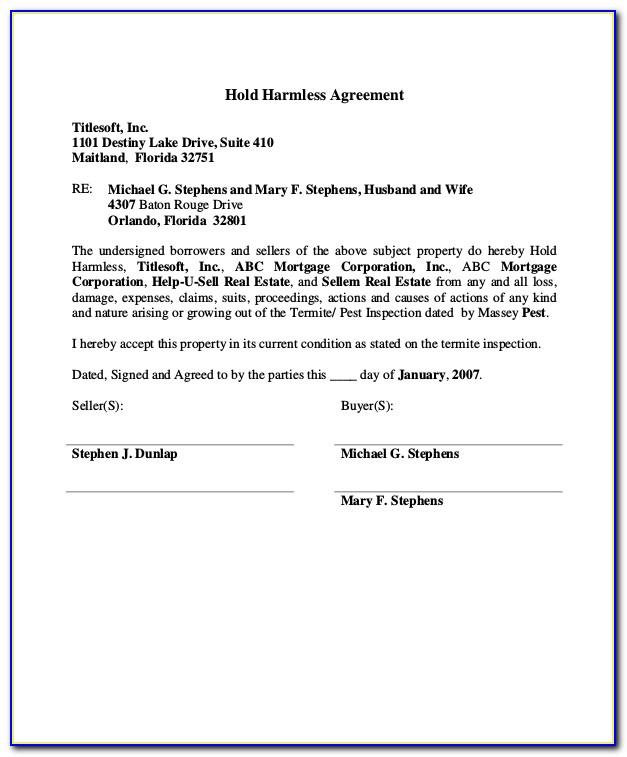 Real Estate Hold Harmless Agreement Template