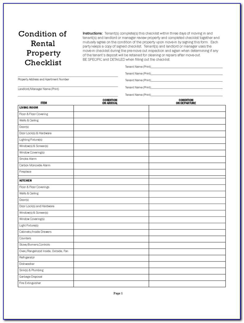 Rental Property Inspection Checklist Template South Africa
