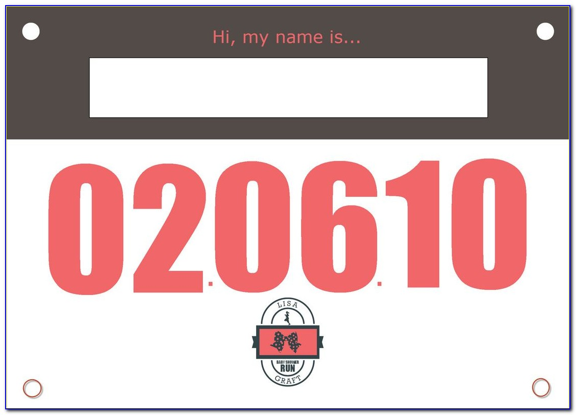 Running Bib Number Template