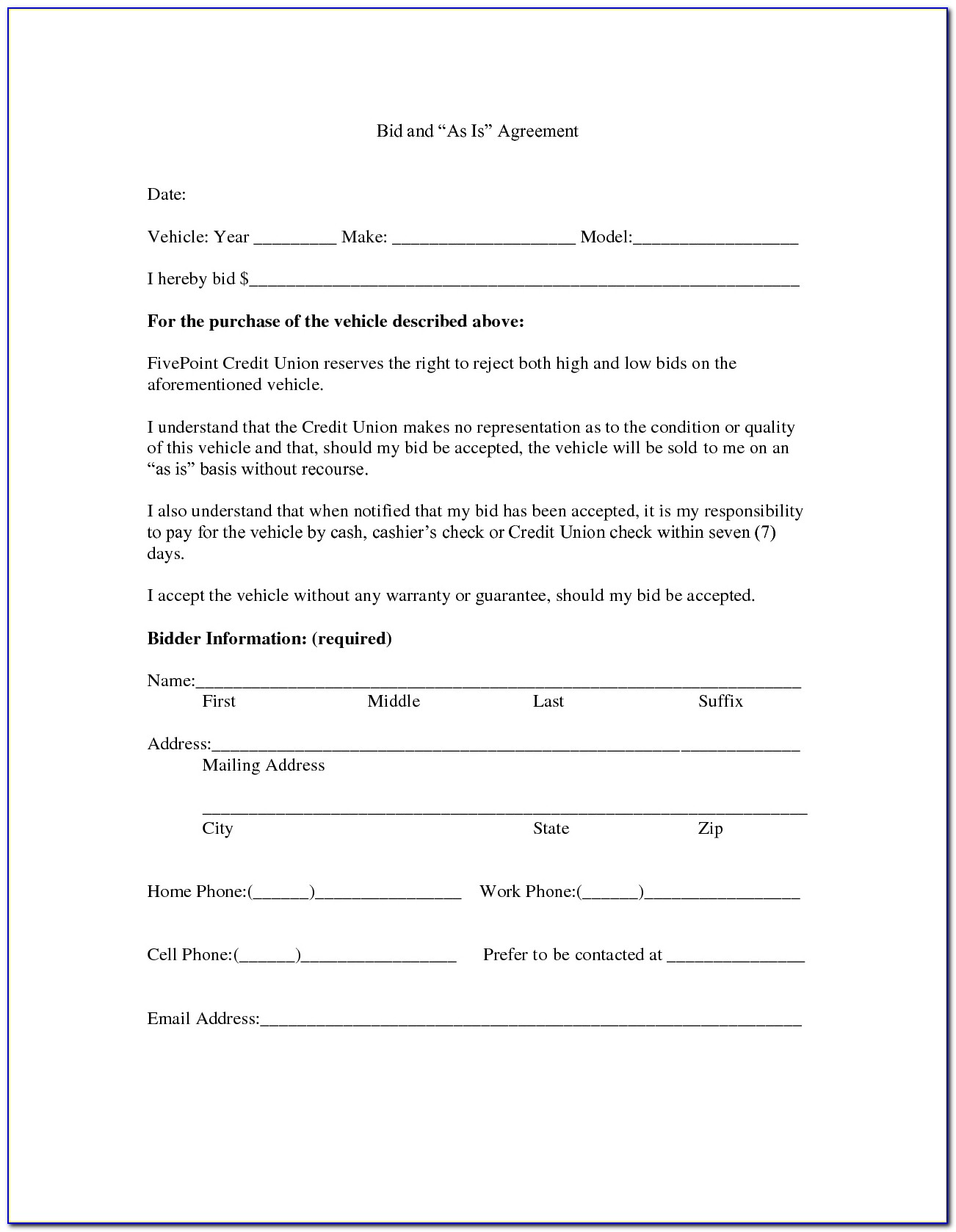 Sample Purchase Agreement For Used Car