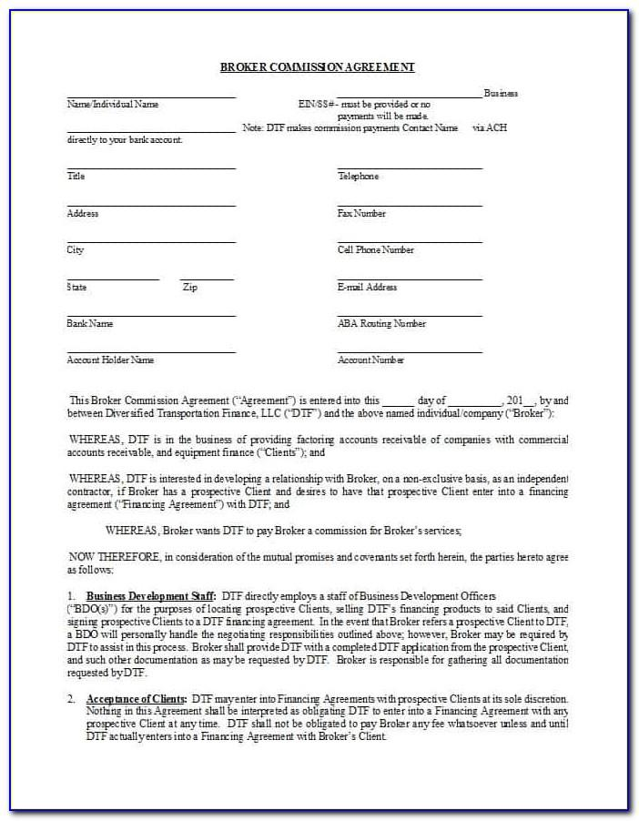 Sample Real Estate Brokerage Commission Agreement