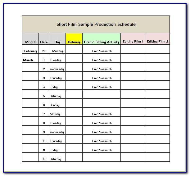 Short Film Production Schedule Template