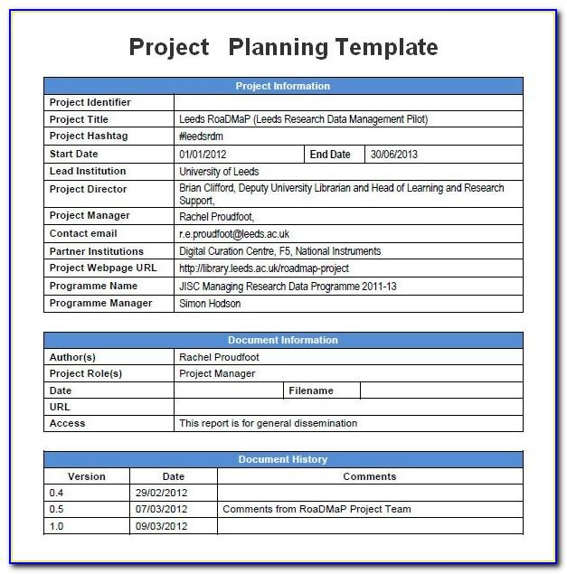 Simple Project Management Template Word