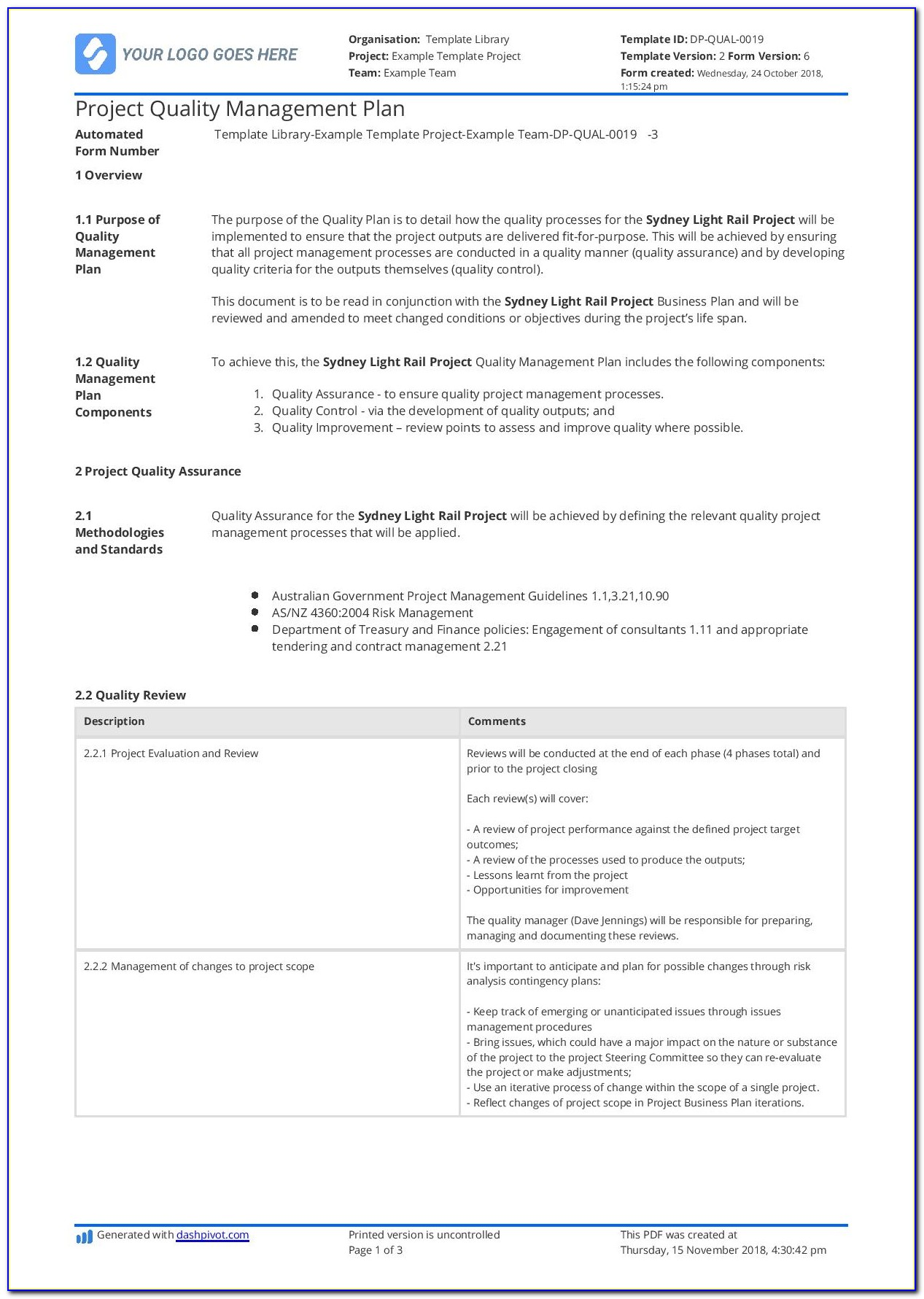 Software Quality Assurance Plan Template Free