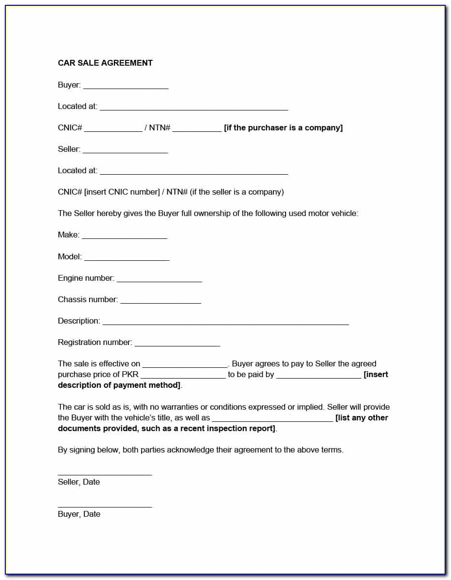 Vehicle Purchase And Sale Agreement Template South Africa
