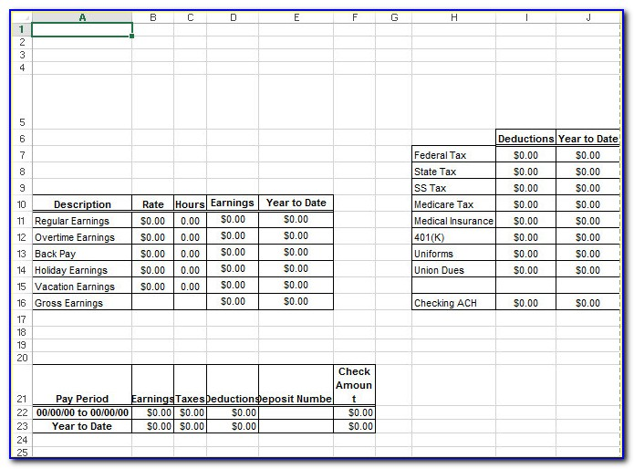 1099 Pay Stub Template Excel