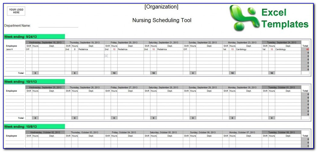 12 Hour Nursing Shift Schedule Template