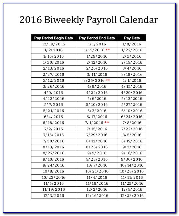 2017 Payroll Calendar Template