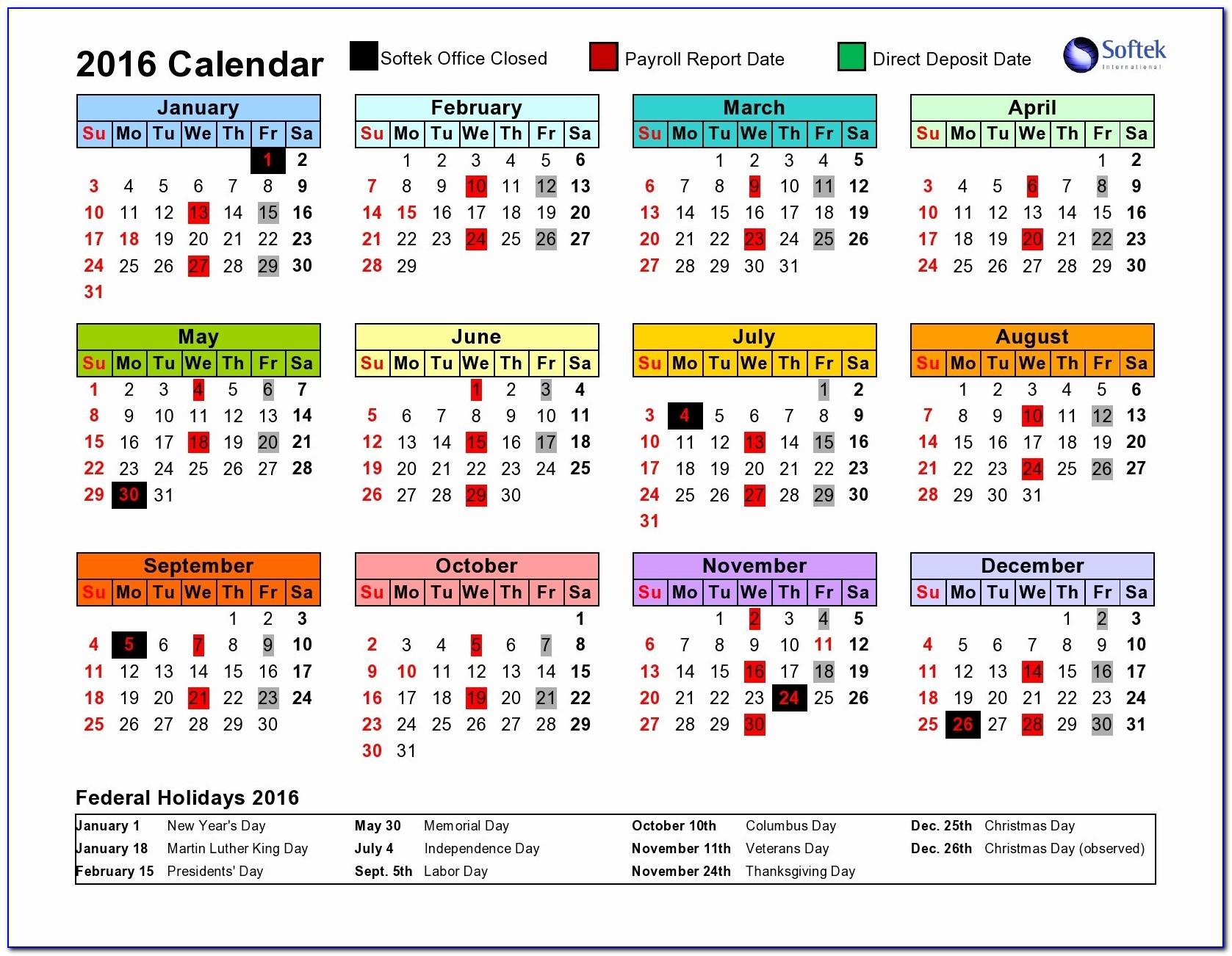 2017 Weekly Payroll Calendar Template