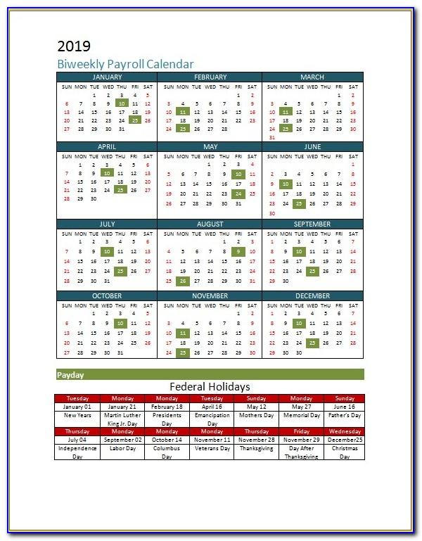 2018 Bi Monthly Payroll Calendar Template