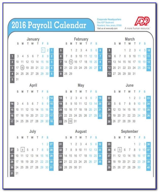 2018 Payroll Calendar Template Word