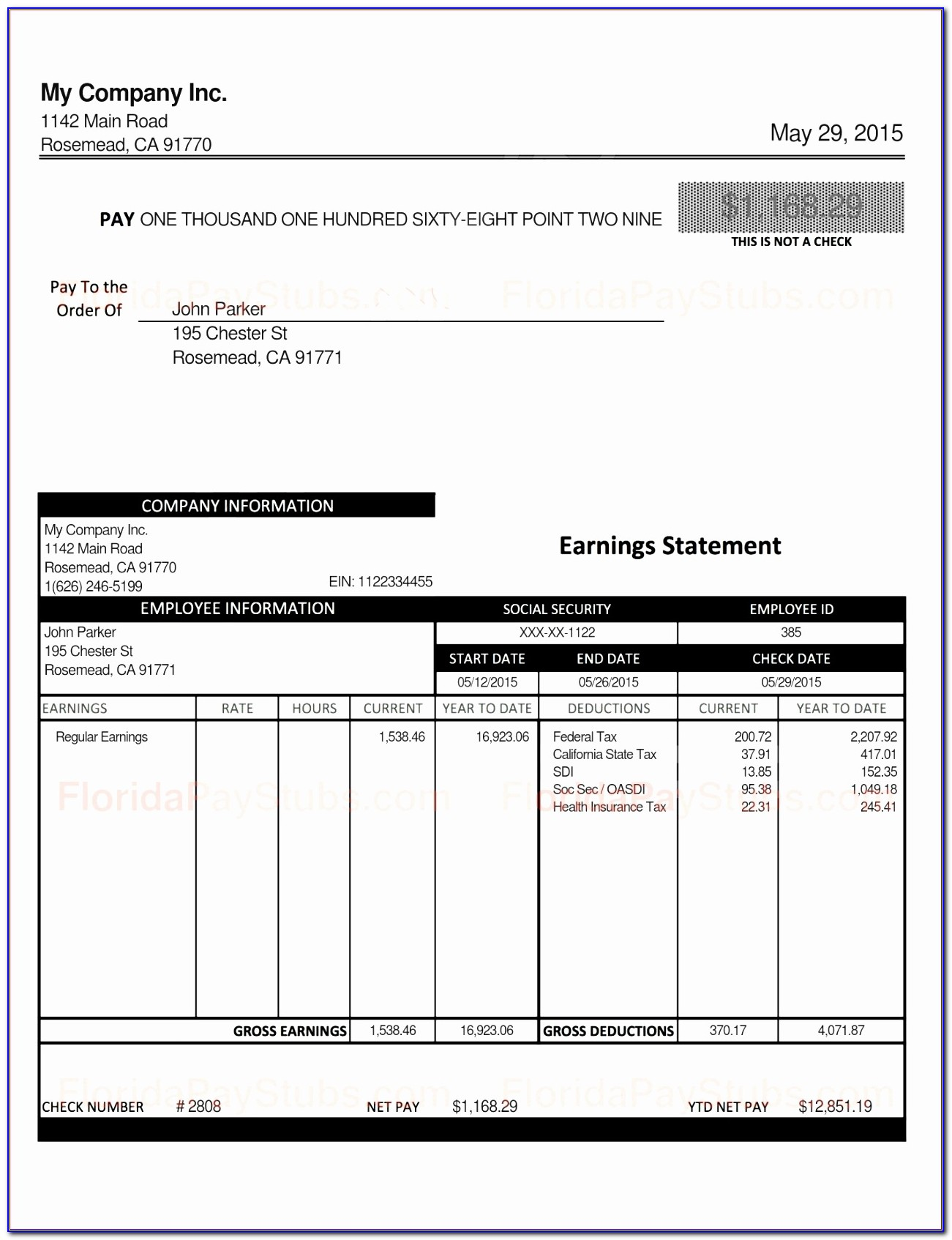 Adp Pay Stub Template Fillable