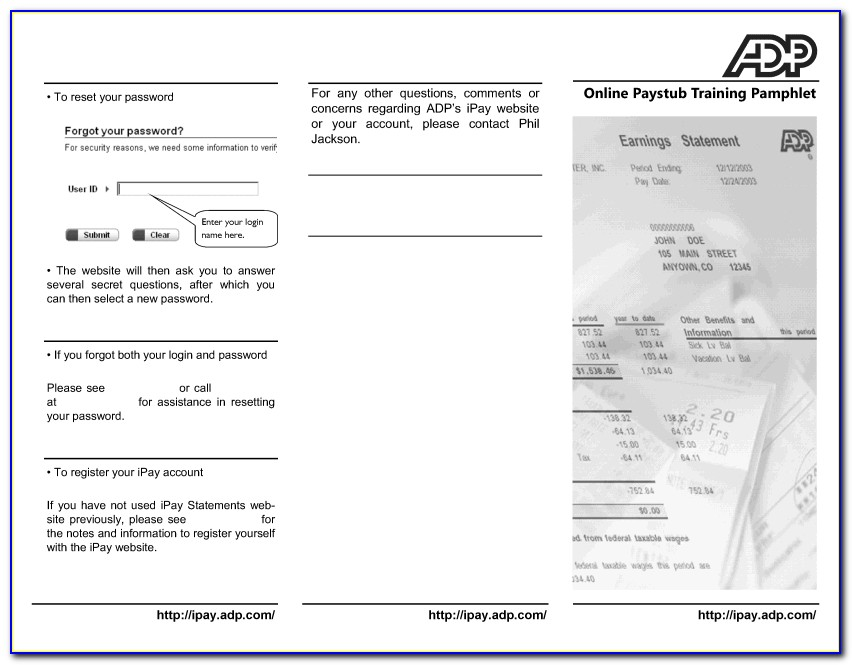 Adp Pay Stub Template Pdf
