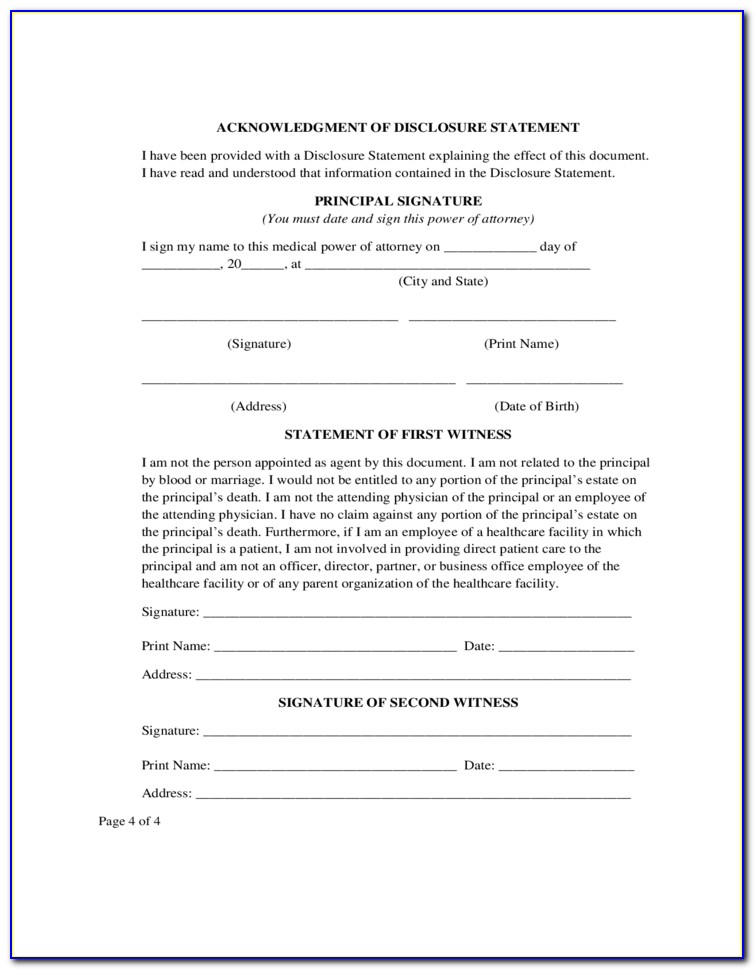 Blank Medical Power Of Attorney Form Texas