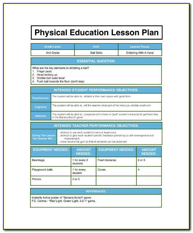 Blank Pe Lesson Plan Template Microsoft Word