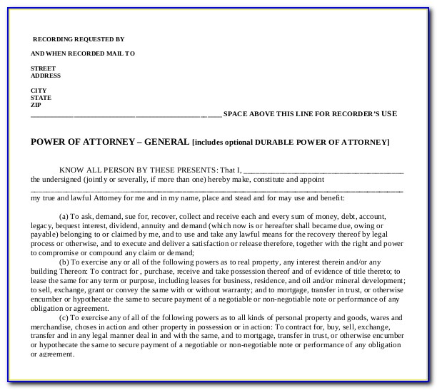 Business Power Of Attorney Template Free
