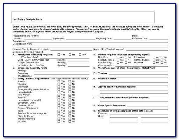 Cal Osha Job Hazard Analysis Form