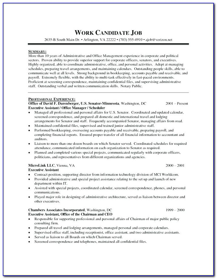 Celebrity Personal Assistant Resume Sample