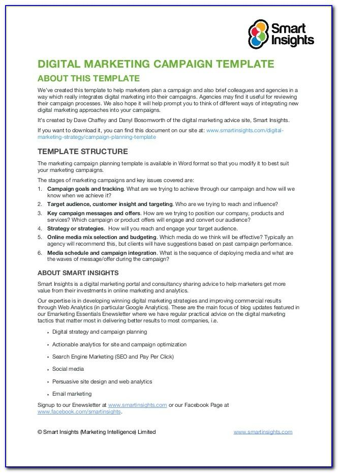 Digital Marketing Campaign Planning Template