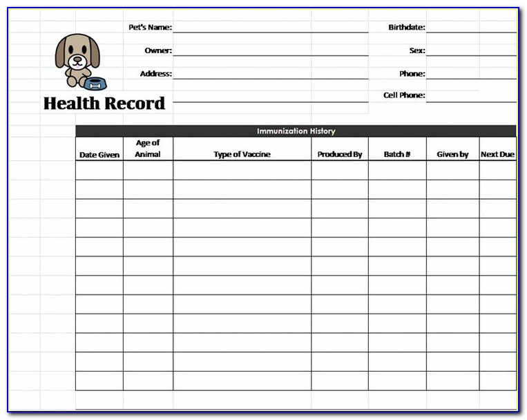 Dog Immunization Record Printable