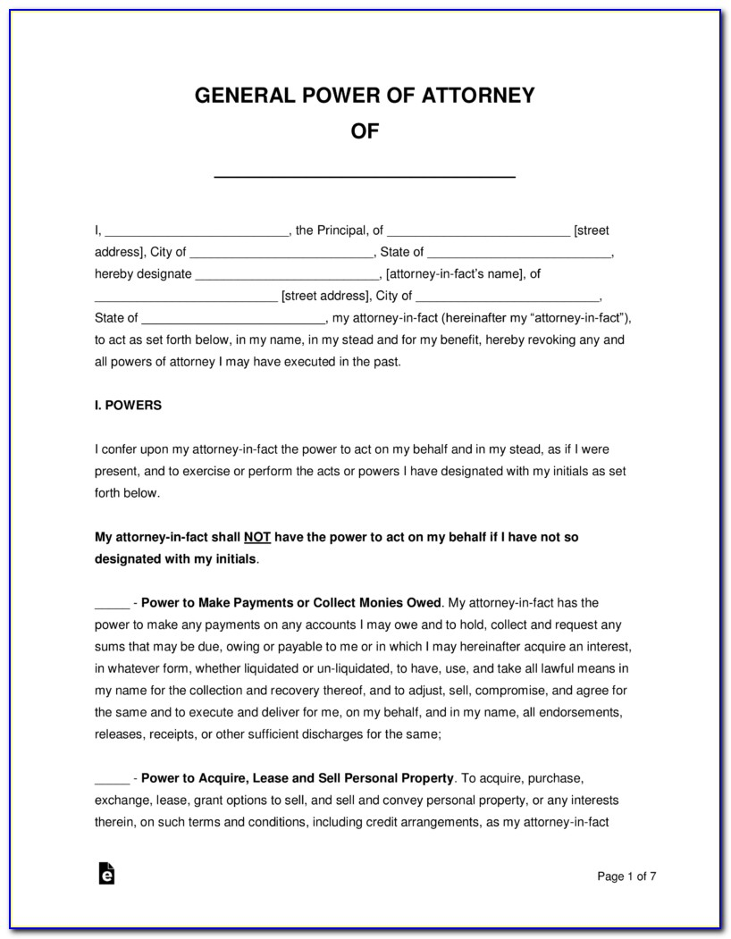 Durable Power Of Attorney Word Document