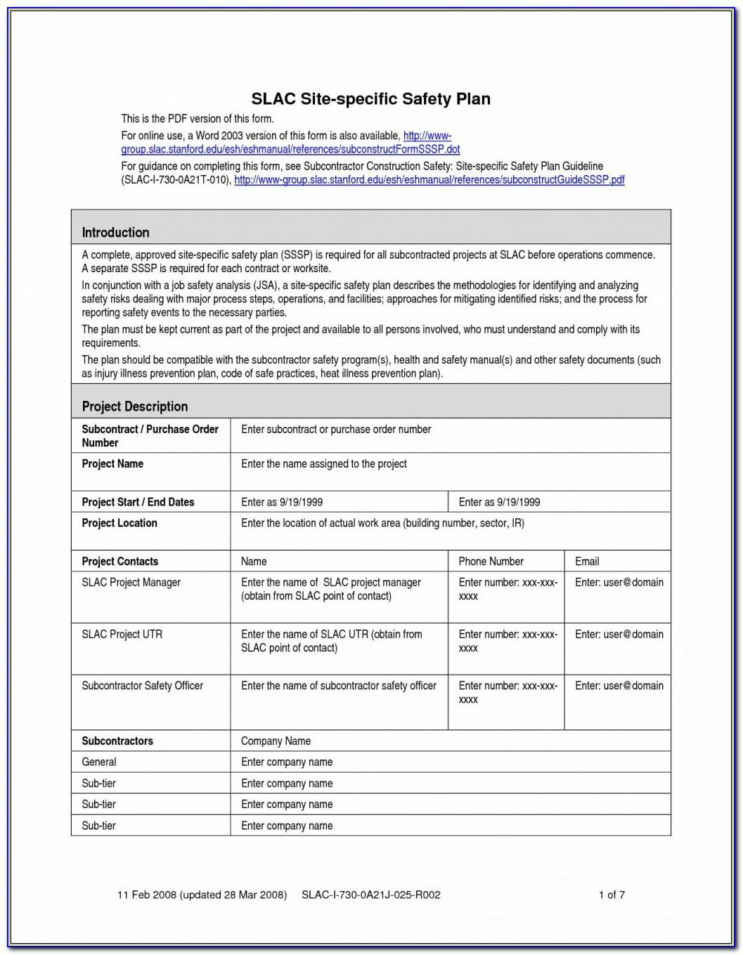 Emergency Action Plan Template Osha 1910.38