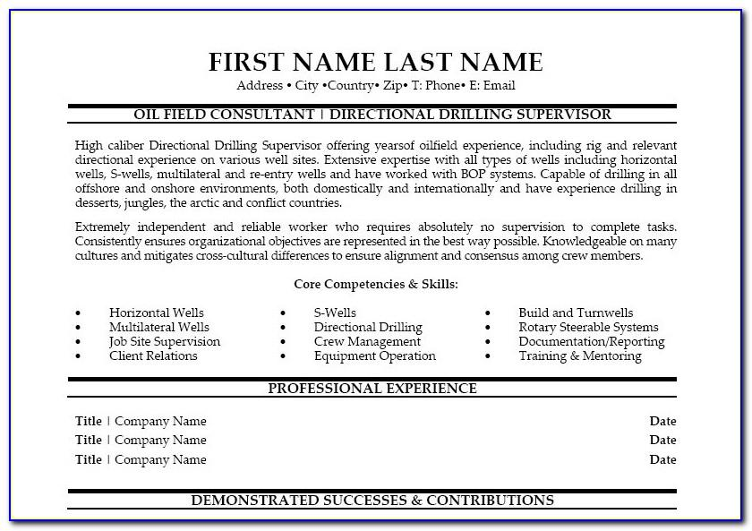 Entry Level Oil Field Resume Samples