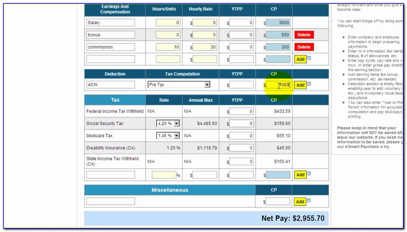 Excel Payroll Calculator Template Canada