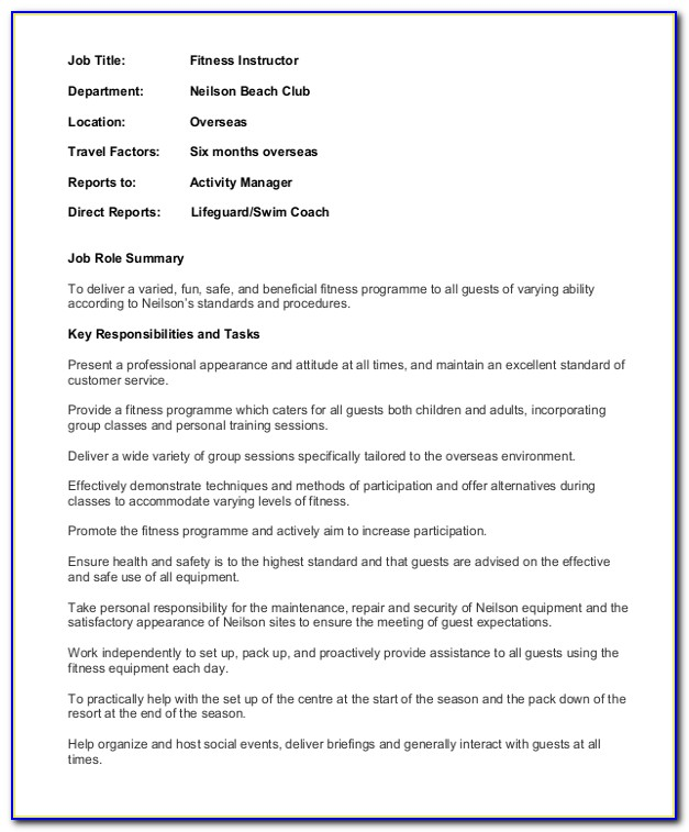 Fitness Trainer Resume Sample Pdf