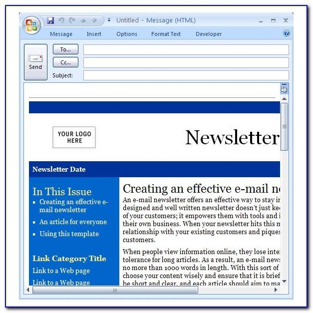 Free Email Newsletter Templates For Outlook 2010