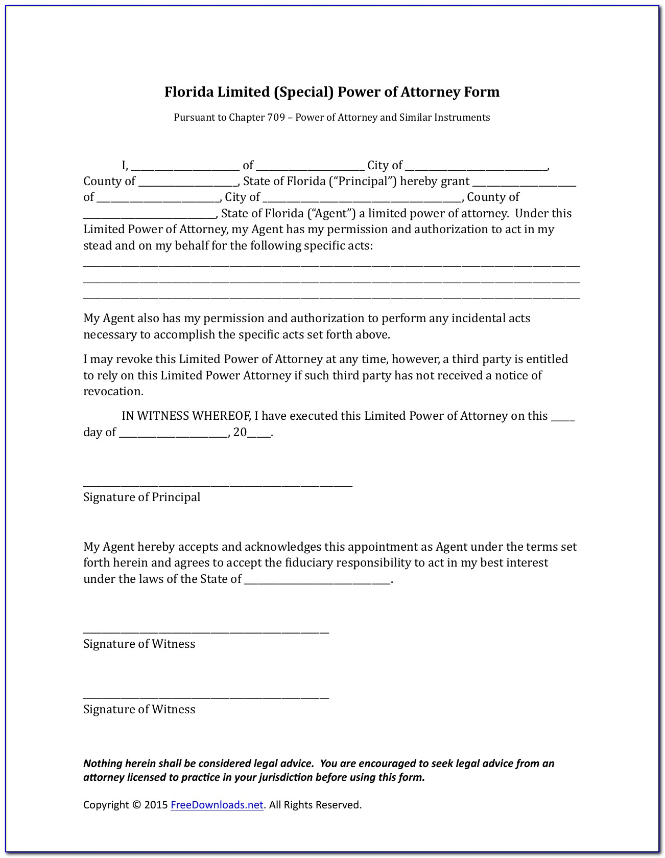 Free Florida Real Estate Power Of Attorney Form