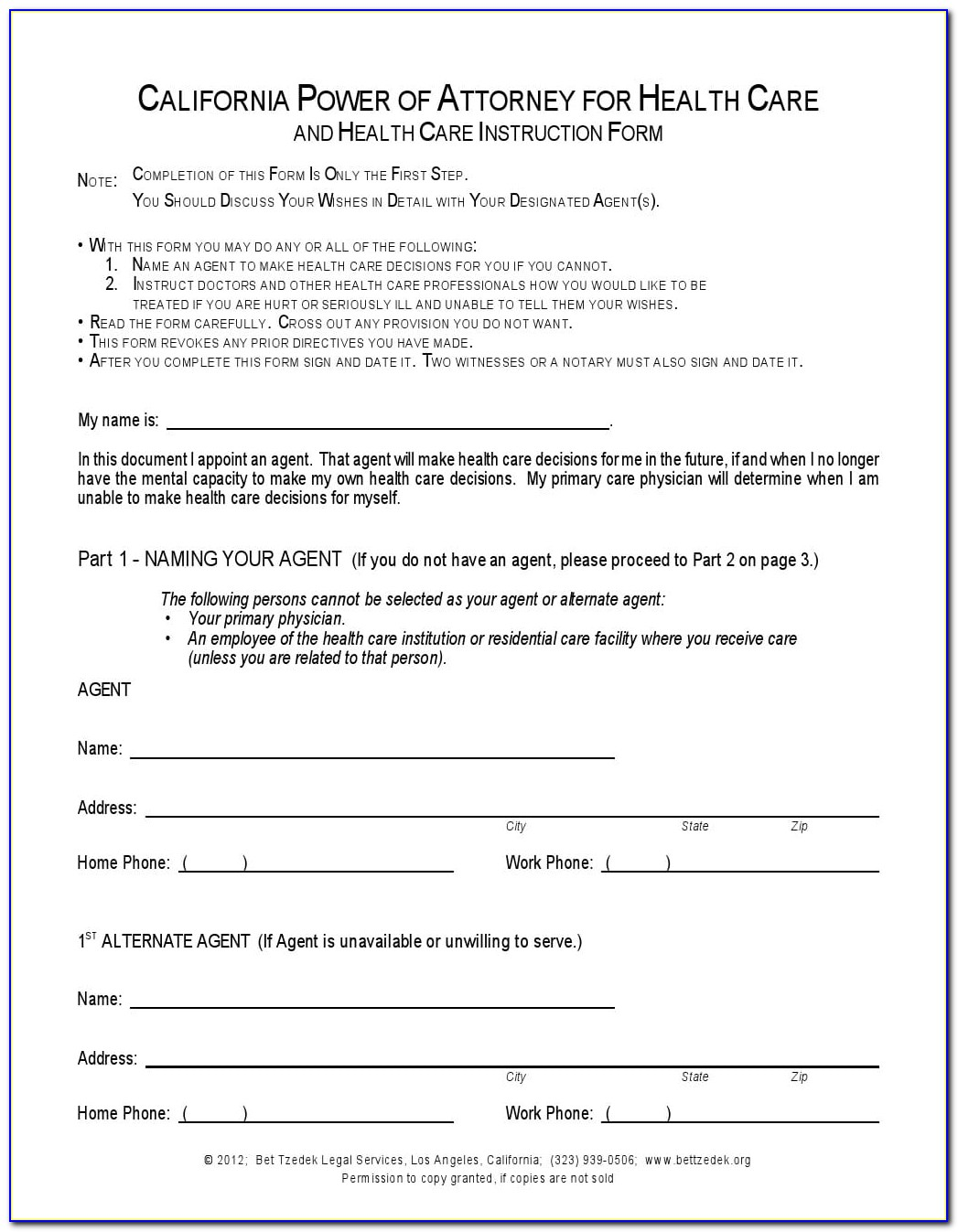 Free Health Care Power Of Attorney Form California