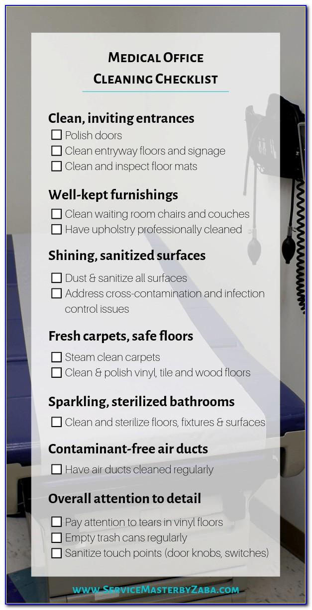 Free Medical Office Cleaning Checklist Templates