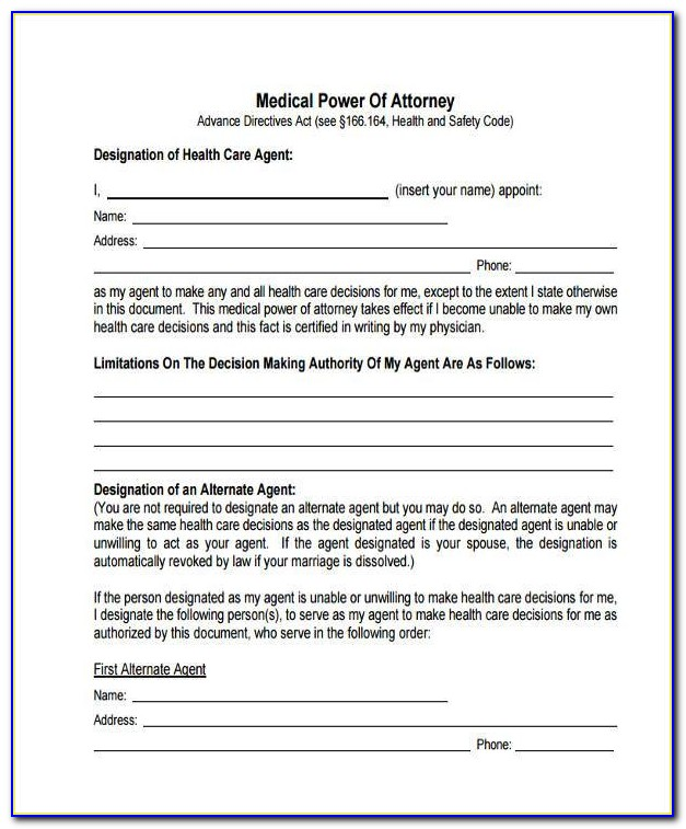 Free Medical Power Of Attorney Form For Child In Texas