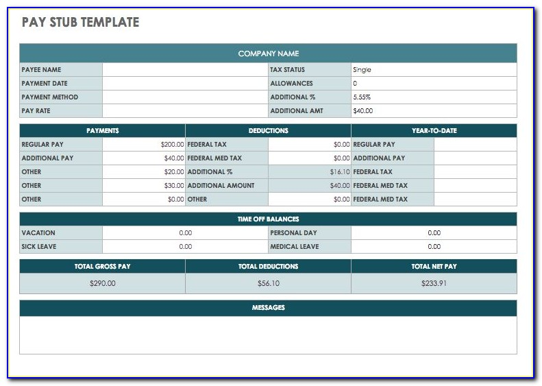 Free Microsoft Excel Pay Stub Template