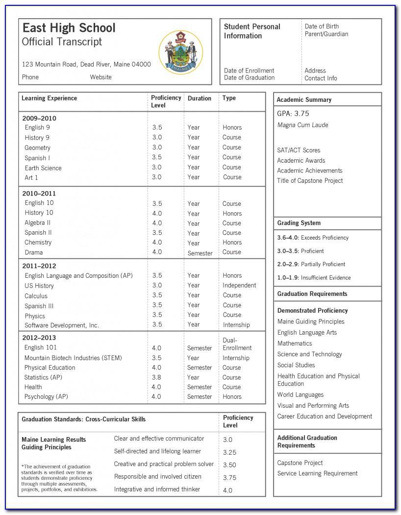 Free Official High School Transcript Template