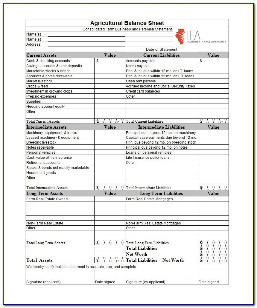 Free Online Personal Balance Sheet Template