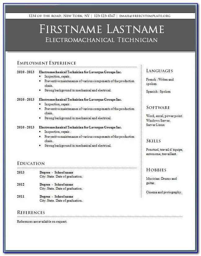 Free Online Resume Templates For Microsoft Word