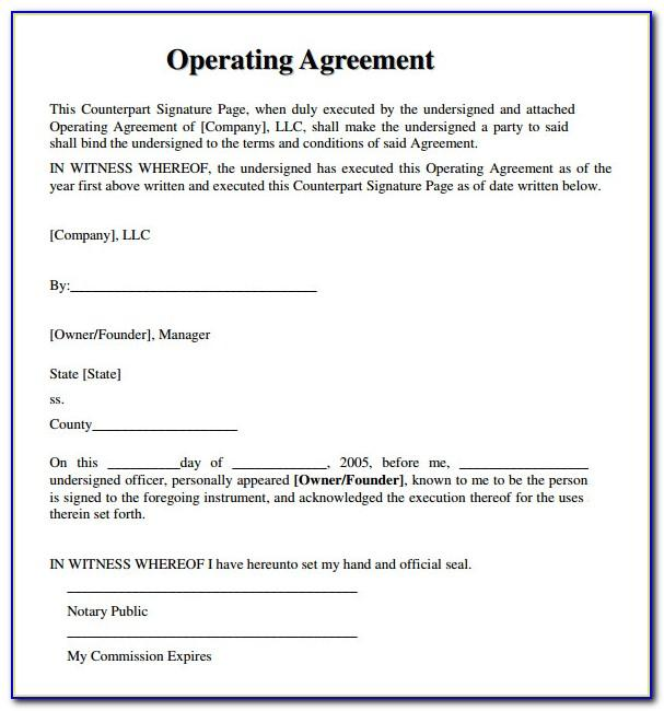 Free Operating Agreement Template For Llc