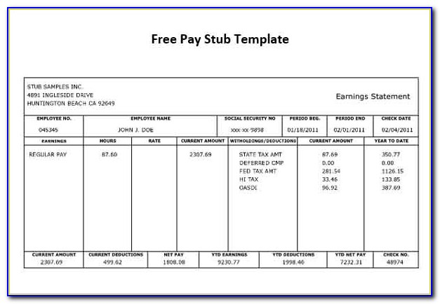 Free Pay Stub Template Excel Canada