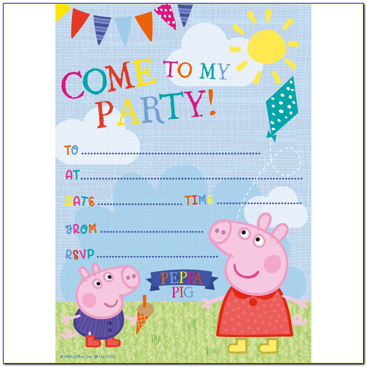 Free Peppa Pig Invitations Template Editable