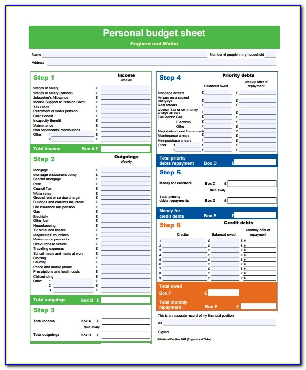 Free Personal Budget Template Pdf