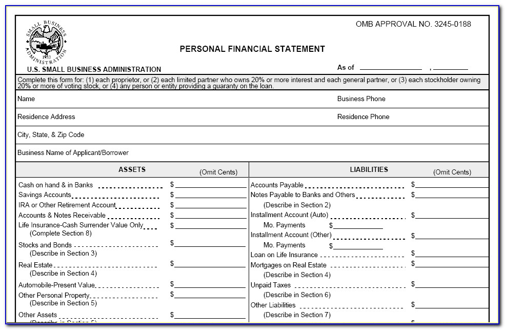 Free Personal Financial Statement Form Excel