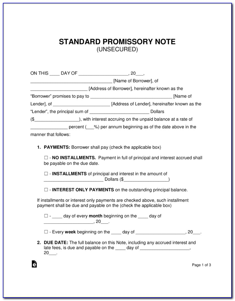 Free Personal Loan Promissory Note Form