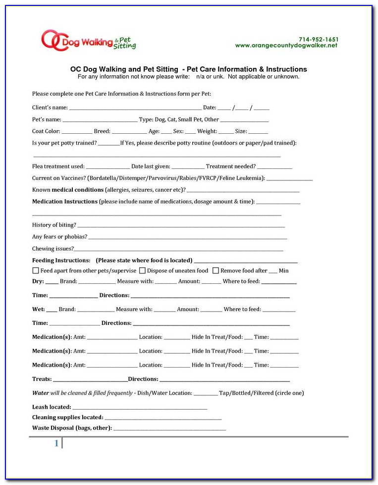 Free Pet Sitter Instructions Template