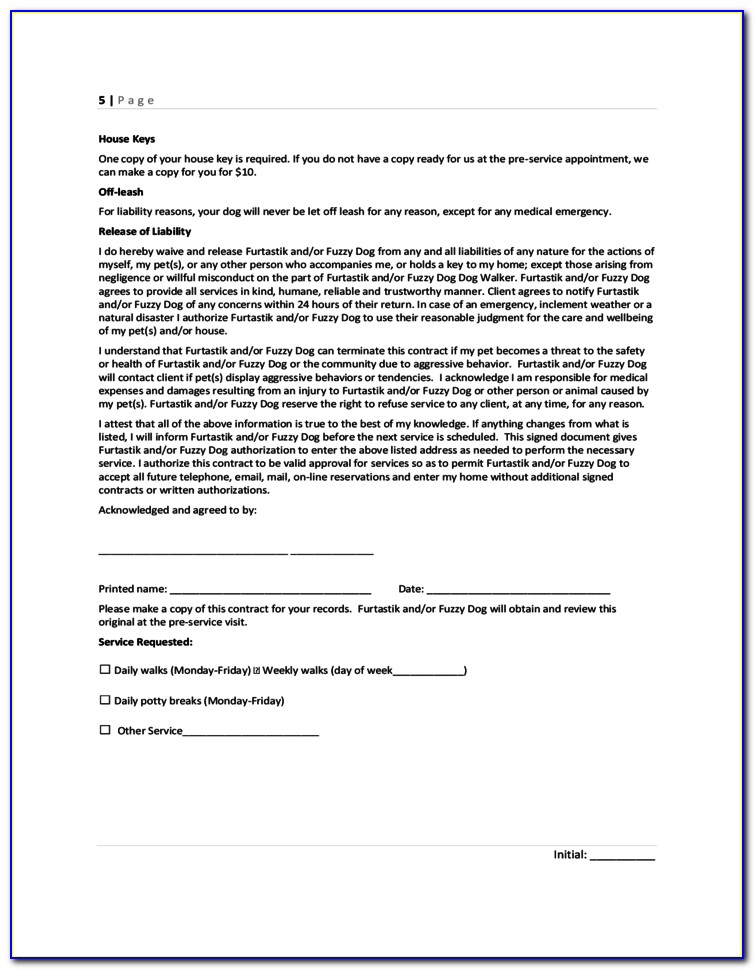 Free Pet Sitting Agreement Forms