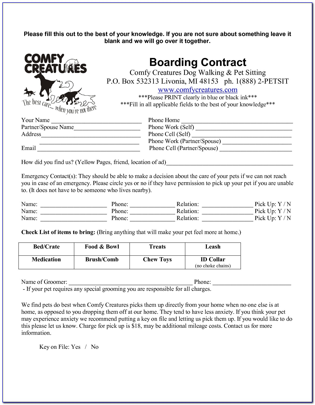 Free Pet Sitting Contract Template Uk